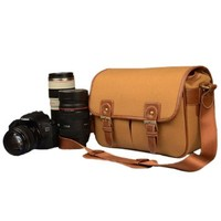 JAVOedge Light Brown Canvas Camera Messager Style Bag for Nikon/Canon/Sony/Panasonic/Fuji/ DSLR with Snap Closures
