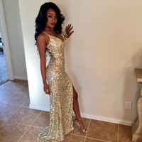 JYDress Sequins Long Prom Dresses Sexy Thigh High Slits Magnetic Halter Vestidos De Fiesta Hollow Back Mermaid Prom Gowns