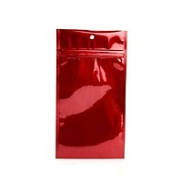 "Child Resistant Hang Zipper Bag (4"" x 6.5"") Metallic Red"
