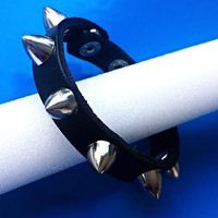 Genuine Leather Bracelet  - Black leather with Cone Stud Spikes Slim Design