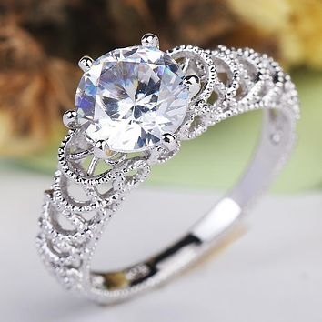 Romantic Sterling Silver Infinity Love Forever Circle Round Clear Finger Ring For Women Wedding Hollow-out Jewelry