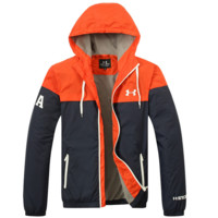 UNDER ARMOUR Fashion Splicing Hooded Zipper Cardigan Sweatshirt Jacket Coat Windbreaker Sportswear