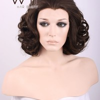 "10"" Short Curly Mixed Dark Brown Lace Front Synthetic Hair Wig LF248"