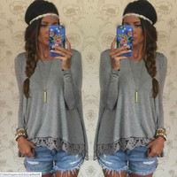 Gray Lace Long-Sleeve Shirt