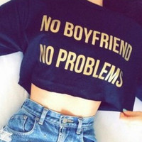 Women Midriff-baring Tops Letter T-Shirts +Free Gift -Random Necklace-107
