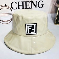 Fendi Fashion New Letter Print Patent Leather Leisure Women Cap Hat Beige