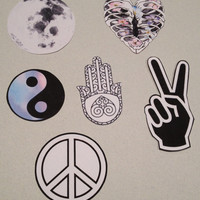 Set of Six Hippy Stickers