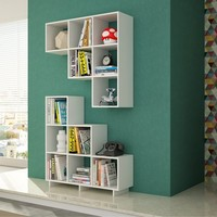 Manhattan Comfort Sophisticated Cascavel Stair Cubby with 6 Cube Shelves. Set of 2.