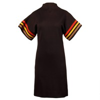 1960s Neusteters Vintage Black Wool Sheath Dress with Suede Leather Stripes