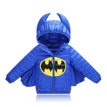 Kids Winter Down Jacket Batman for Boys Girls Character Duck Down Casual Hooded Outwear