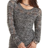 Marled Pointelle Tunic Sweater by Charlotte Russe