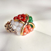 Beaded stretch ring four color combination