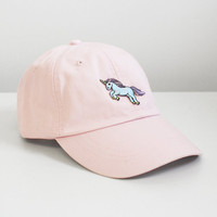 Unicorn Embroidered Baseball Hat - Your Choice of Cap Color with Patch - White Pastel Pink Charcoal Cactus Green Aqua
