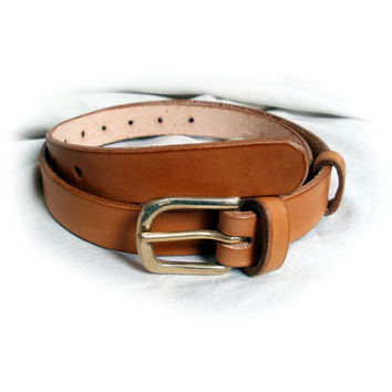 """Womens leather belt, black, brown or tan, 1"""" wide, solid brass buckle, suitable for men, made to order"""