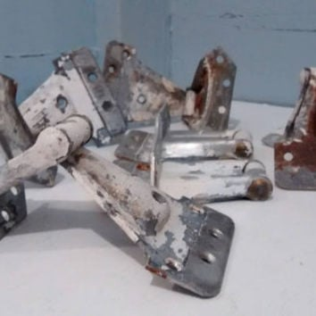 Hinges,  Window Hinges, Barn Window Hinges, Architectural Salvage, Antique, Hardware, Metal, Painted, White, RhymeswithDaughter