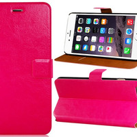 Faux Leather Stand Flip Case for 5.5 iPhone 6 Plus (Red)
