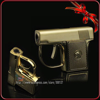 Mini Novelty Metal Pistol Jet Flame Windproof Cigarette Cigar Gun Lighter With Box