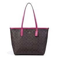COACH Women's Fine Quality Leather Tote Bag Shoulder Bag F