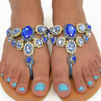 Summer Queen Dream Blue Gem Stone Sandals