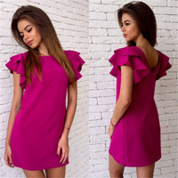 2016 New Women Summer Fashion Style Dress Casual Butterfly Sleeve Sexy Backless Dress Vestidos