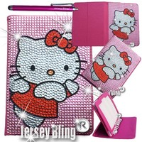 """Jersey Bling® BLING Universal Kindle Fire 7"""" HD 1st & 2ND GEN, HDX, NON-HD, Crystal and Rhinestone Faux Leather Case with Built-In Stand, FREE Stylus (Kitty PINK Angel)"""