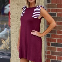 Game Day Dress with Shoulder Bows ~ Crimson & Cream