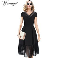 Vfemage V-neck Vintage Pinup Tunic Casual Party Cocktail Prom Swing Skater A Line Dress