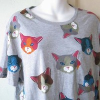 Grey/Multicolored Cat Graphic T Shirt; Large Character Hero/UO Kitty Print Tee