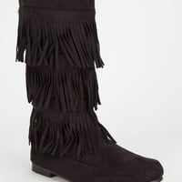 Wild Diva Starcy Fringe Womens Boots Black  In Sizes