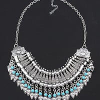 Sliver Plated Pointed Pearl Collar Necklace