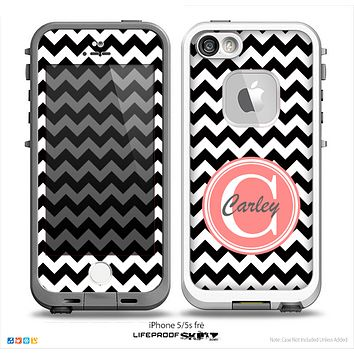 The Black & White Chevron Monogram Name Script Skin Coral v1 Skin for the iPhone 5-5s Fre LifeProof Case