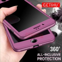GETIHU 360 Protection Phone Case For iPhone 6 6s 7 8 Plus Luxury Protective Full Cover For iPhone 7 8 6s Plus Cases +Nano Glass