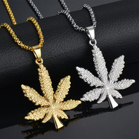 New Iced Out Necklace&Pendant Silver Plated Maple Leaf Pendant Long