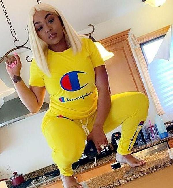 Image of Champion Summer Popular Women Casual Print Top Pants Trousers Set Two-Piece Sportswear