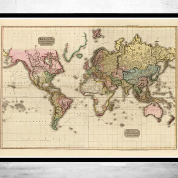 Old World Map in 1812