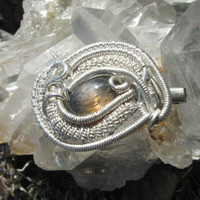 Wire Wrapped Sunstone Gem Brooch Hat Pin in Sterling Silver