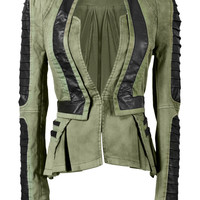 Denim PU Leather Contrast Blazer - Green