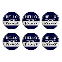 Prince Hello My Name Is Plastic Resin Button Set of 6