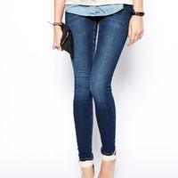 ASOS Whitby Low Rise Skinny Jeans in Dark Wash Blue