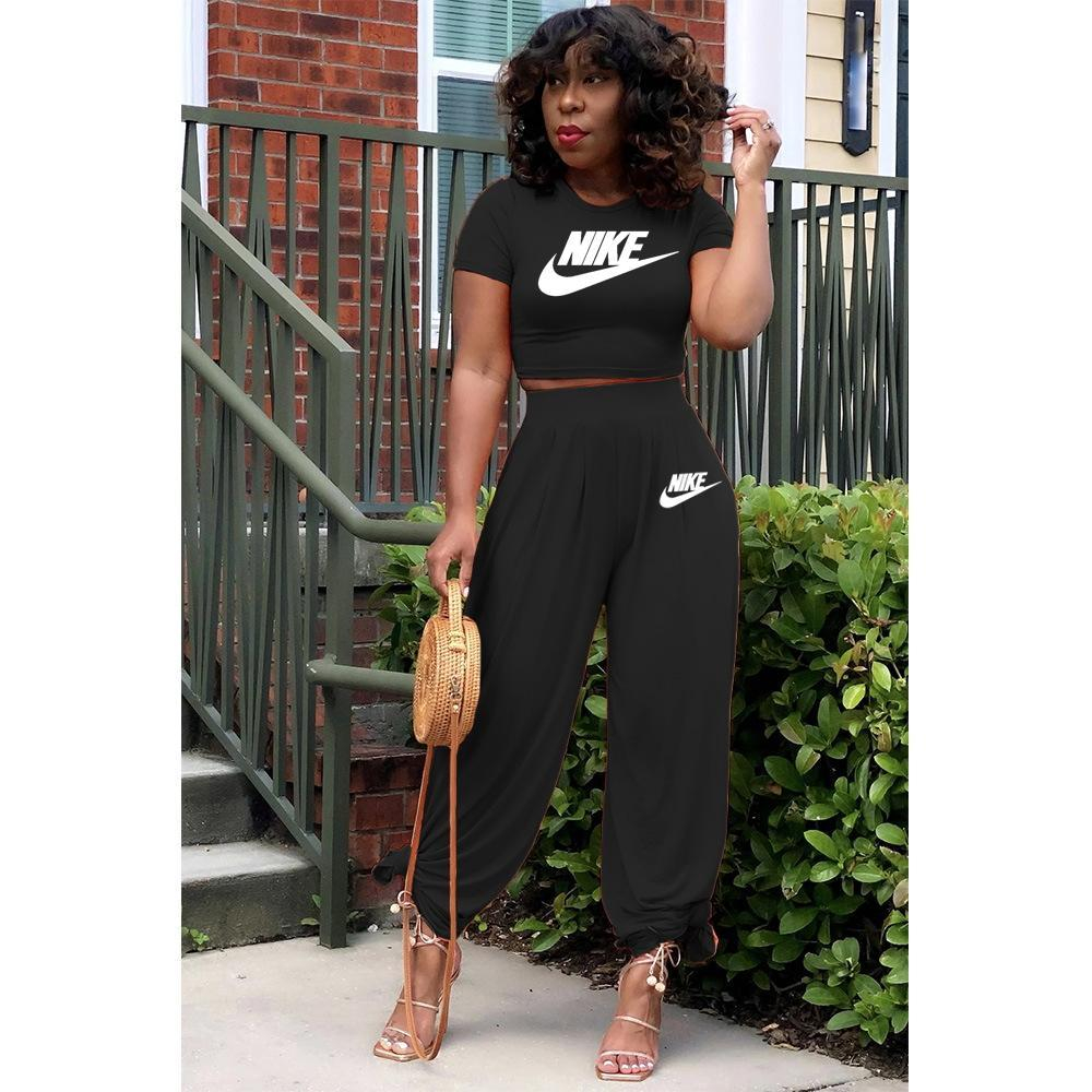 Image of NIKE women's new fashion printing casual sports suit two piece