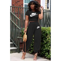 NIKE women's new fashion printing casual sports suit two piece