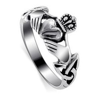 LWRS145-8 925 Sterling Silver Irish Claddagh Love and Friendship Polish Finish Ring Size 8