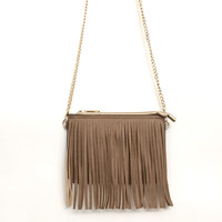 Fringing Around Crossbody Bag in Tan
