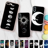 Minason Space Love Sun Moon Tumblr Case for iPhone X 5 S 5S XR XS Max SE 6 6S 7 8 Plus Cover Soft Silicone Phone Fundas Capinha