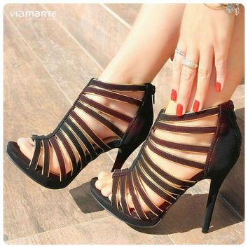 Straps Open Toe Ankle Boot Back Zipper Stiletto High Heel Sandals