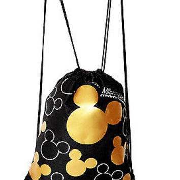 MICKEY MOUSE GOLD AND BLACK SHAPES DRAWSTRING BAG BACKPACK TRAVEL STRING POUCH