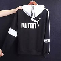 PUMA Fashion Women Men Casual Print Long Sleeve Hoodie Sweater Sweatshirt Black