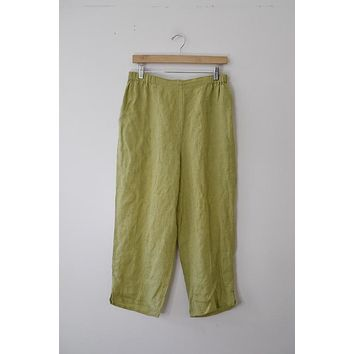 FLAX Lime Green Pull On Pant