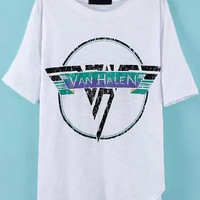 Van Helen Graphic Print White Shirt