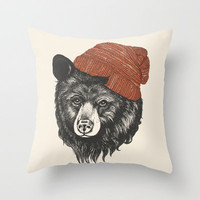 zissou the bear Throw Pillow by Laura Graves | Society6